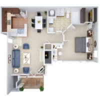 A 3D floorplan of the A1 One Bedroom apartment for rent at Crown Chase Apartments, in Tulsa Oklahoma.
