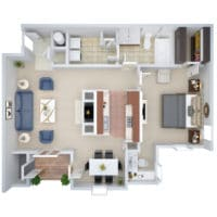 A 3D floorplan of the A2 One Bedroom apartment for rent at Crown Chase Apartments.