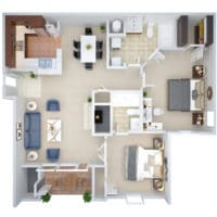 A 3D floorplan of the B1 Two Bedroom Two Bath apartment for rent at Crown Chase Apartments.