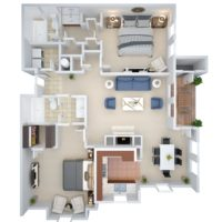 3D image of the B2 Two Bedroom Two Bath floorplan at Crown Chase Apartments.